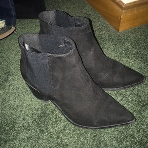 "H&M size 37 black suede booties with 2"" heel"